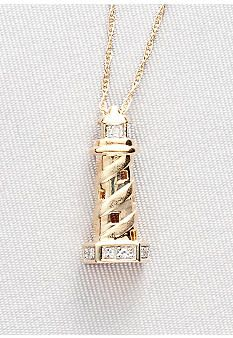 Diamond Accent Lighthouse Pendant in 10k Gold (perfect for Allison)