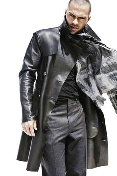 Men's leather coat. Fresh fashion inspiration daily, follow http://pinterest.com/pmartinza:
