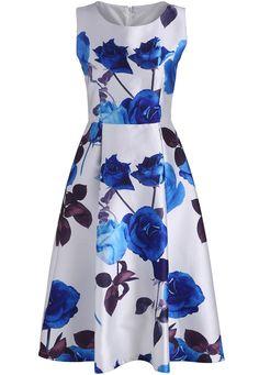 White Sleeveless Rose Print Flare Dress