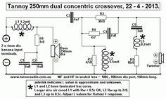 tannoy-250mm-dual-con-xover-schema-22-4-13.GIF Audio Crossover, Speaker Plans, Speaker Box Design, Diy Speakers, Electronic Engineering, Circuit Projects, Hifi Audio, Boombox, Loudspeaker