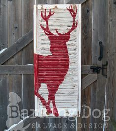 Red Reindeer Shutter: Are you interested in my custom designed, hand-painted shutters? Please visit my facebook page and support artists and small, independent businesses ~ Thank you for your support! https://www.facebook.com/BarkingDogSalvageAndDesign