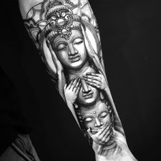 Image may contain: 3 people Japanese Sleeve Tattoos, Full Sleeve Tattoos, Sleeve Tattoos For Women, Tattoos For Guys, Chinese Tattoos, Tattoo Japanese, Evil Tattoos, Black Tattoos, Hand Tattoos