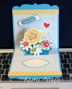 Beautiful card using the Flowers insert in the Square Pop 'n Cuts base. By Karen Aicken. Altered Scrapbooking: 'Hello Friend' Pop Up Card