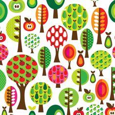 Retro bomen appels en peren - Geboortekaartjes - Kaartje2go