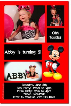 Mickey Mouse Birthday Invitations **DOWNLOAD JPG IMMEDIATELY** | uprintinvitations - Cards on ArtFire