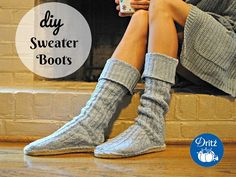Refashioning: DIY Sweater Boots with Dritz Espadrilles Soles - pair a kid's outgrown sweater with Dritz Espadrilles soles and you've got some good looking house shoes! Trash To Couture, Diy Clothes And Shoes, Diy Clothes Videos, Old Sweater, Sweater Boots, Pullover Upcycling, Diy Clothes Refashion, Shirt Refashion, Clothing Ideas