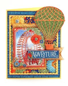 Scrap Travel And Bark Cheery Lynn Hot Air Balloon Die - I Love Bright Bold Colors And Graphic S Worlds Fair Collection Sure Fits That Bill What Could Be A More Perfect Collection To Show You The Vintage Cheery Lynn Designs Hot Air Balloon D The Balloon, Hot Air Balloon, Scrapbook Examples, Scrapbook Layouts, Travel Cards, World's Fair, Graphic 45, Scrapbook Paper, Scrapbooking