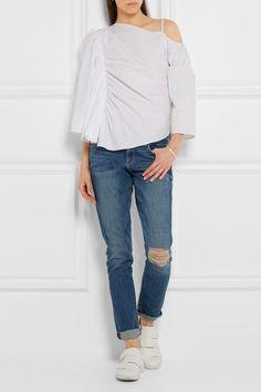 Frame   Le Garcon distressed mid-rise slim boyfriend jeans   NET-A-PORTER.COM