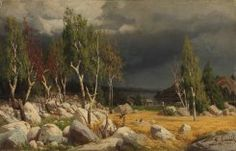Finnish National Gallery - Art Collections - A Clearing, Uusimaa Landscape ; Burnt Clearing, Landscape from Uusimaa by Fanny Churberg Helene Schjerfbeck, Chur, Cool Landscapes, Landscape Paintings, Dark & Stormy, National Gallery, Alone In The Dark, New Nightmare, Eye Of The Storm