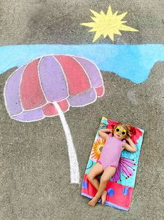 A family in Atlanta use bright chalk crayons to create wondrous settings for the family's children to play in.