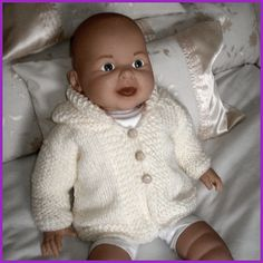 Baby Cardigan Knitting Pattern Free, Baby Boy Knitting Patterns, Baby Sweater Patterns, Knitted Baby Cardigan, Knit Baby Sweaters, Baby Patterns, Baby Knits, Knitting Dolls Clothes, Baby Doll Clothes