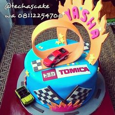 Tomica race cars birthday cake