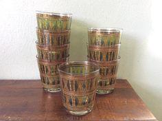 $40.00  green gold barware, vintage wicker design lo ball glasses, striped old fashioned glassware, retro barware, bamboo design barware,2roads2take