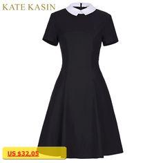 Office Dress With White Collar Women 2017 Summer 50s 60s Vintage Dresses Short Sleeve Pleated Black Dress Vestidos