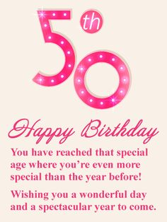 Send Free You're Special - Happy Birthday Card to Loved Ones on Birthday & Greeting Cards by Davia. It's free, and you also can use your own customized birthday calendar and birthday reminders. 50th Birthday Quotes Woman, 50th Birthday Messages, Happy 50th Birthday Wishes, Birthday Wishes For Women, Funny Happy Birthday Messages, Birthday Verses, Happy Birthday Celebration, Birthday Wishes Quotes, Card Birthday
