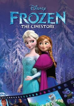 """Frozen: The Cinestory, by Disney (2014). """"Fearless optimist Anna sets off on an epic journey, teaming up with rugged mountain man Kristoff and his loyal reindeer Sven to find her sister Elsa, whose icy powers have trapped the kingdom of Arendelle in eternal winter."""" (Website)"""