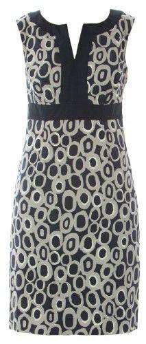 Boden Women's Printed Notch Neck Dress US Sz 2P Grey