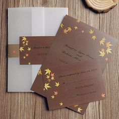 maple leaves rustic fall pocket wedding invitation cards EWPI086 as low as $1.69