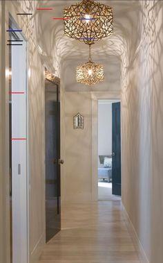 33 Chic Hallway Lighting Design Ideas That Will Keep Your Mood - Modern Hallway Ceiling Lights, Hallway Light Fixtures, Hallway Lighting, Cool Lighting, Lighting Ideas, Ceiling Lamps, Ceiling Ideas, Track Lighting, Modern Bedroom Design