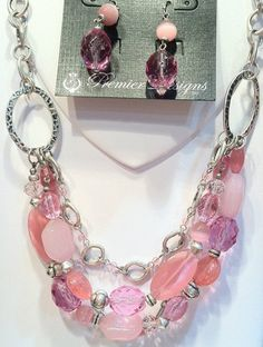 Perfectly Pink necklace and earrings by Premier Designs.  premierdesigns.com