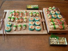 Fake sushi! So fun and easy to make, you can use all kinds of ideas, swedish fish, gummy worms, etc.