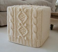 upcycled cable knit ottoman