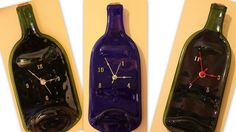 Glass Art Wall Clock Fused Recycled Wine Bottle by RayMels on Etsy, $25.00