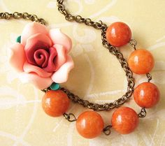Your place to buy and sell all things handmade Flower Bracelet, Flower Necklace, Collar Rosa, Peach Necklace, Beaded Jewelry, Beaded Necklace, Bridesmaid Bracelet, Resin Flowers, Wedding Jewelry