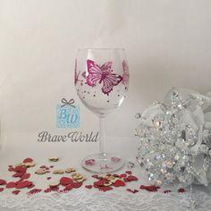 Hand Decorated, Wine Glass, Pink Butterflies, Butterflies. AUD $25