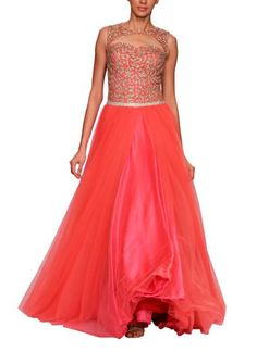 Indian Fashion Designers - Jyotsna Tiwari - Contemporary Indian Designer Clothes - Gowns - JT-SS14-G101 - Stunning Bright Pink Gown