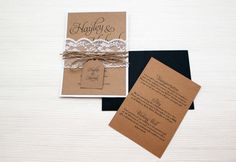 Elegant and rustic layered wedding invitation with lace bellyband and twine