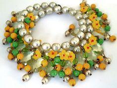 Miriam Haskell - Parure - Perles Baroques Imitation, Perles de Verre 'Fleurettes' Jaune et Vert - Années 50
