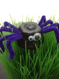 Craft for kids ~ Halloween spider. Made from a painted egg carton section, pipe cleaners, googly eyes and glitter of coarse.