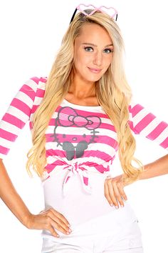 9417a997cfff7 Fuchsia White Cartoon Character Print Front Tie Casual Top · Hello Kitty  ClothesHello Kitty ItemsCasual TopsSassyShirts ...