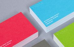 I like that these business cards are so bright. It might be neat to have this on the front and white on the back with colored text.