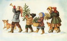 Christmas Heralds (and a corgi) by Tasha Tudor
