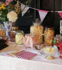 Variety of Jars for sweetie buffet buy preloved at www.sellmywedding.co.uk