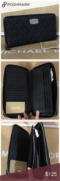 "NWT MK Jet Set Signature XL Wallet - black Black in color. Has 1 ID window, 20 cc slots, 1 large multi purpose slot, 3 large bill compartment and 1 zippered coin pocket. Dimensions: 9""L x 5""H x 1""D.   MK signature logo and saffiano leather lining.  Guaranteed authentic! Price is firm! Michael Kors Bags Wallets"