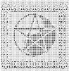 Pentagram yin-yang pagan cross stitch