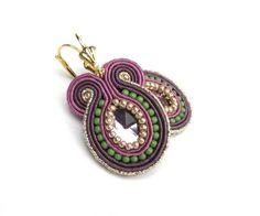 Big bold soutache earrings, green, violet, golden. $32.00, via Etsy.