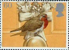 Christmas Robins 60p Stamp (1995) European Robin on Door Knob and Christmas Wreath