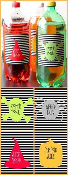 FREE Printable Halloween Soda Pop Labels on { lilluna.com }