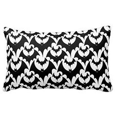 Cushion Cover Standard Pillowcase Decorative Black and White Bats Goth Halloween Pattern Pillow Sham Inches