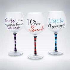 Girl s night in quippy sayings on decorative wine glasses have fun