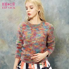 ELF SACK Women Autumn Pullover Long Sleeve O Neck Knitted Sewater Mohair Tops New Arrival Fashion Womens Sweaters Knitwear