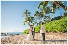 Bride and groom getting married on the beach in Maui | Eco Weddings In Maui, Hawaii | Green Bride Guide