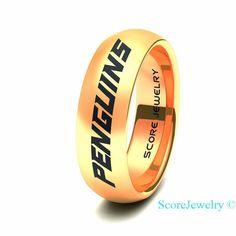 d269dff82 14K Rose Gold Tungsten Band Ring Mens Womens Ring NHL Hockey Pittsburgh  Penguins Ring Birthday Anniversary