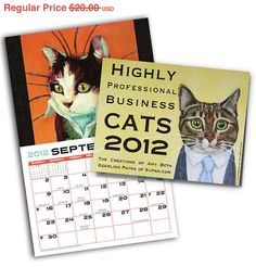 Business Cats Wall Calendar 2012 by supah on Etsy, $18.00