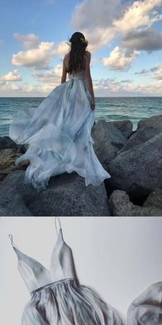 Lake Pictures Discover 2018 cheap Long Spaghetti Straps Simple V Neck Tulle Pretty Party Prom Dresses Bridal gowns Unique Prom Dresses, Blue Wedding Dresses, Prom Party Dresses, Pretty Dresses, Homecoming Dresses, Bridal Dresses, Bridesmaid Dresses, Grey Prom Dress, Different Dresses