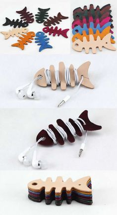 Leather Fish Cord Organizer Holder Headset Headphone Earphone Wrap Winder - FeelGift - Kabelbutler als Fischgräten - Arts And Crafts For Teens, Art And Craft Videos, Easy Arts And Crafts, Diy And Crafts, Crafts For Kids, Leather Diy Crafts, Leather Projects, Leather Craft, Earphones Wrap